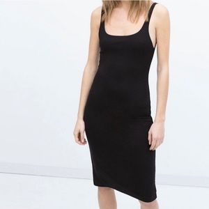 Zara Black Midi Bodycon Black Dress